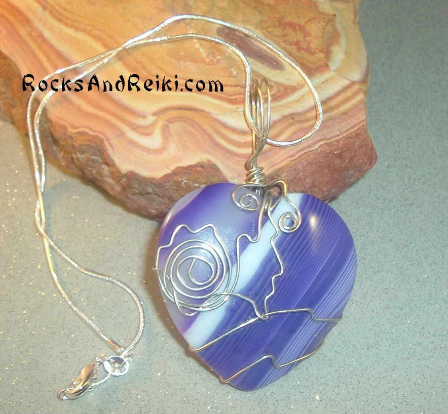 Violet Heart, Agate Wire Wrapped – Gemstone Pendant ...