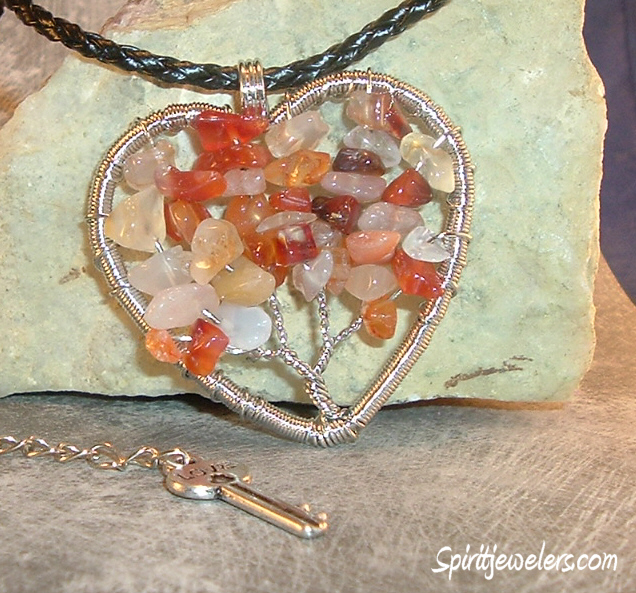 Carnelian Tree of Life - Heart Pendant Necklace